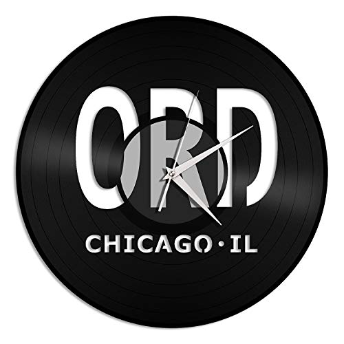 VinylShopUS - Chicago O'Hare Airport ORD Vinyl Wall Clock Unique Gift for Office Home | Room Decoration (Chicago Ohare Airport)