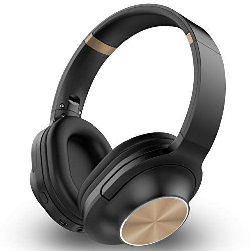 Over-Ear Headset Wireless Bluetooth Headphones Hi-Fi Stereo Wireless Headset Fordable Soft Memory-Protein Running Collapsible Headsets for Cellphones PC (Gold)