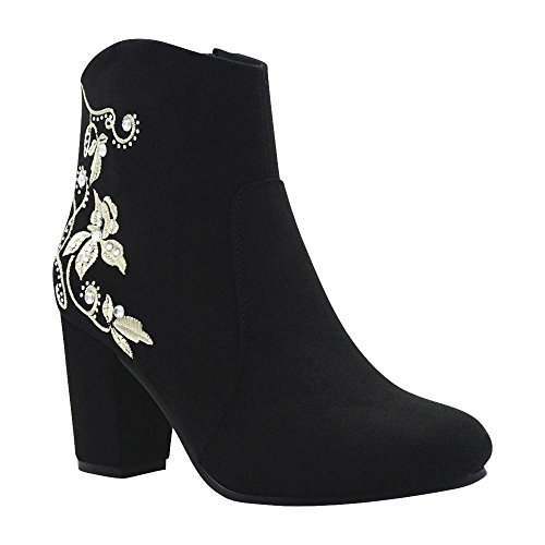 De Blossom Collection Womens Cold Weather Suede Floral Embroidered Chunky Heeled Bootie With Rhinestone Accents Black Black eRq76mgX