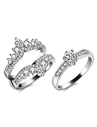 Uloveido 2 PCS Women's Round Brilliant Cubic Zirconia Ring Guard Enhancer Double Princess Crown Wedding Rings Set Y477-J048