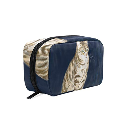 Cosmetic Makeup Bag Pouch Cat Mammal Fauna Whiskers Sketch Drawing Clutch -