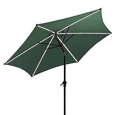 AOODA 10 ft LED Lighted Patio Umbrella LED Solar Power Table Market Umbrella LED Waterproof Strip, with Tilt Adjustment and Crank Lift System, Perfect for Outdoors, Patio, or Any Parties (Green) - AOODA 10 ft LED lighted patio umbrella add a festive mood to any occasion, perfect for any patio or party setting;NOTE: The solar power panel needs be charged for 8 hrs in the sun to gain the enough energy to charge the LED lights during the night; And the on-and-off switch also needs be turned off in the daytime 10 ft solar patio umbrella has a LED waterproof strip on each rib, 6 aluminum rib construction, On and Off switch for umbrella solar light, which runs 6-7 hours (10,000 hours of usage) Hassle-free setup & storage; Featured a classic crank handle with adjustable tilt function, AOODA patio umbrella gives more coverage and cool air, ideal for outdoor 4-6 seats patio table - shades-parasols, patio-furniture, patio - 416gRGeRHQL. SS400  -