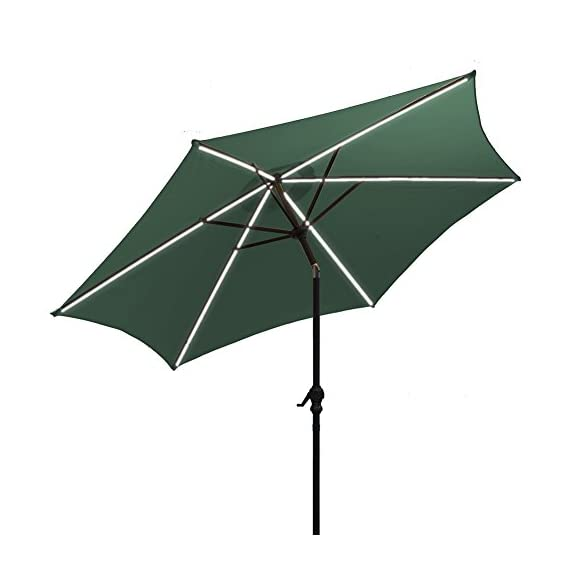AOODA 10 ft LED Lighted Patio Umbrella LED Solar Power Table Market Umbrella LED Waterproof Strip, with Tilt Adjustment and Crank Lift System - AOODA 10 ft LED lighted patio umbrella add a festive mood to any occasion, perfect for any patio or party setting;NOTE: The solar power panel needs be charged for 8 hrs in the sun to gain the enough energy to charge the LED lights during the night; And the on-and-off switch also needs be turned off in the daytime Has a LED waterproof strip on each rib, 6 aluminum rib construction, On and Off switch for umbrella solar light, which runs 6-7 hours (10,000 hours of usage) Hassle-free setup & storage; Featured a classic crank handle with adjustable tilt function, gives more coverage and cool air, ideal for outdoor 4-6 seats patio table - shades-parasols, patio-furniture, patio - 416gRGeRHQL. SS570  -