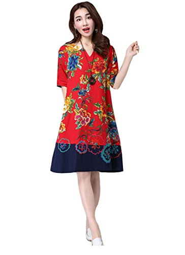 Style Avec Dress Longue Acvip Col Nation Imprimé Fleur V Robe Femme Chinois PppxEqt8