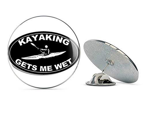 NYC Jewelers Black Oval Kayaking GETS ME Wet (Yak Funny Kayaker Kayak) Metal 0.75
