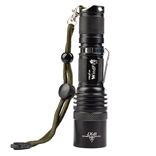 WindFire F17 Cree XM-L2 T6 Led Waterproof Flashlight Camping Spotlight 18650 Torch Lamp With Clip and Lanyard Strip for Hiking Biking Fishing and Outdoor Sports Indoor Activities (No Battery) (2000lm Cree Xm L T6 Led Flashlight Torch)