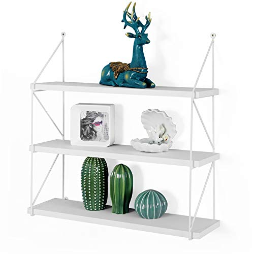 - WELLAND 3-Tier Display Wall Shelf Storage Rack Wall Rack Holder Rack, White