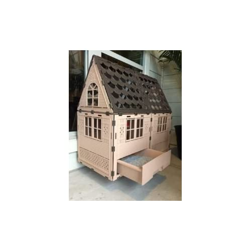 KittyKatFlat Deluxe - Secure Cat Enclosure, Mounted in Window, Cat House Condo with Pet Door and Litter Box
