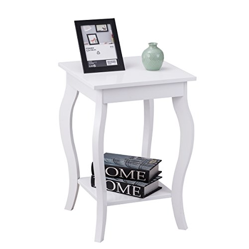 Giantex End Table Bedroom Accent Sofa Side Table with Storage & Shelf Curved Legs, White (1)