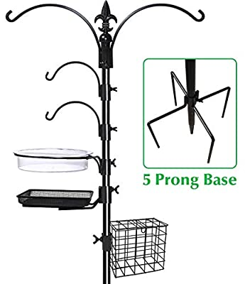"Gray Bunny GB-6844D Deluxe Premium Bird Feeding Station, 22"" Wide x 91"" Tall (82 inch Above Ground) Black, Multi Feeder Hanging Kit & Bird Bath for Attracting Wild Birds, Birdfeeder & Planter Hanger"