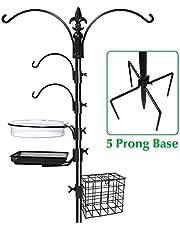 """Gray Bunny Deluxe Premium Bird Feeding Station 22"""" Wide X 91"""" Tall (82 Inch Above Ground) Black Multi Feeder Hanging Kit & Bird Bath for Attracting Wild Birds Birdfeeder & Planter Hanger"""