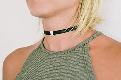 Black choker necklace for women, silver curbed bead, charm choker necklace, Faux vegan leather necklace, 90s choker necklace, gift idea for $<!--$15.00-->