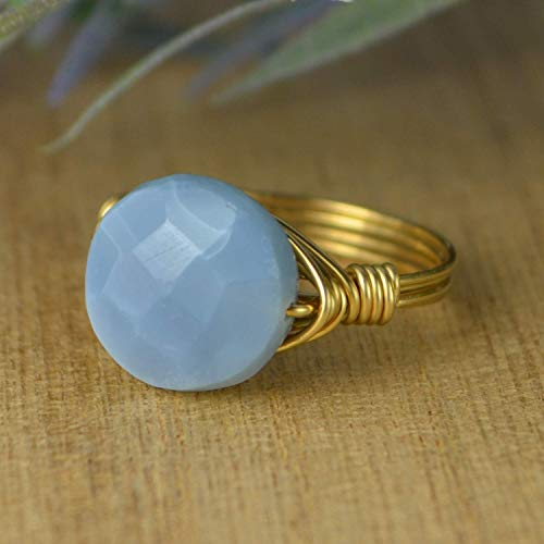 Size 4 5 6 7 8 9 10 11 12 13 14 Double Terminated Labradorite Gemstone Ring-Sterling Silver Yellow Rose Gold Filled Wire Wrapped