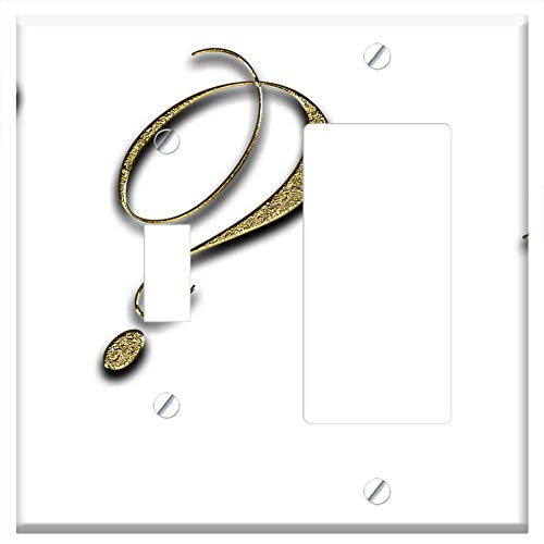 - 1-Toggle 1-Rocker/GFCI Combination Wall Plate Cover - Punctuation Marks Gold Point Font Exclamation