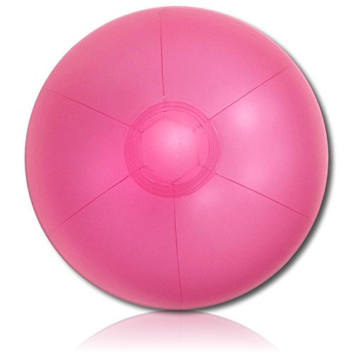 """Custom Beach Ball (ULTRA Durable & Custom {9"""" Inch} One Single Small-Size Inflatable Beach Ball for Summer Fun, Made of Lightweight FLEX-Resin Plastic w/ Shiny Frosted Shimmery Plain Solid Bubblegum Shade Style {Pink})"""