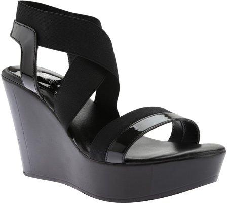 Charles David Women's Feature Wedge Sandal,Black Elastic Patent,US 10 M