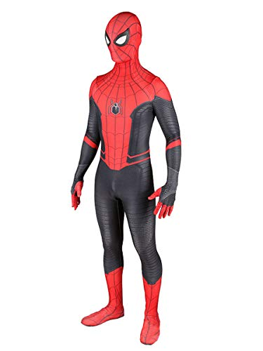 Peter Parker Far from Home Suit Adult Halloween Cosplay 3D Zentai Detached Mask with Lenses XXL
