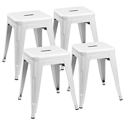 JUMMICO Metal Bar Stools Indoor-Outdoor 18 Inches Stackable Restaurant Stools Industrial Backless Barstools Set of 4 for Commercial Trattoria,Bistro (White)