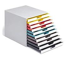 Durable 763027 Caja de cajones A4 (Varicolor Mix) 10 compartimentos, con etiquetas para etiquetar, multicolor