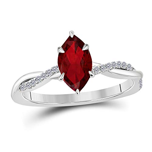 Jewelryhub 1.20 Ct Marquise Shape Created Red Ruby 14K White Gold Finish Sterling Silver Swirl Style Engagement Ring for Women's Birthday Gift ()