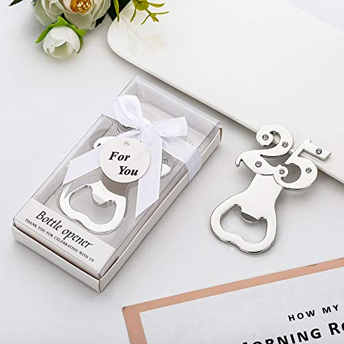 Yuokwer 12 pcs 25th Bottle Opener Party Favor Wedding Souvenir Gift for Guests Silver Wedding Anniversary 25th Birthday Party Gift Decoration (Silver 25th, 12) ()