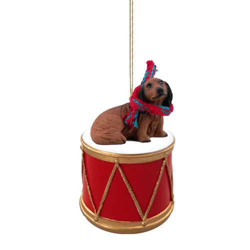 Little Drummer Longhaired Dachshund Christmas Ornament - Hand Painted - Delightful by Animal Den
