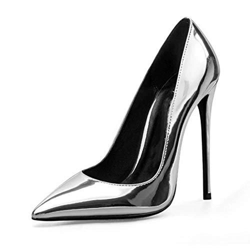 High Brevet Grande Peu Chaussures Profonde Femmes Femme liangxie Partie Taille 45 Ai Pu Silver Spring Heels Ya PFwOqPSxt