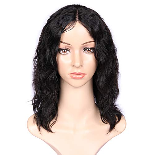 "WIGNEE 100% Virgin Human Hair Natural Wave Wigs Lace Part Brazilian Human Hair Wave Wigs Middle Part Wig Natural Black Color(12"" lace part no bangs)"