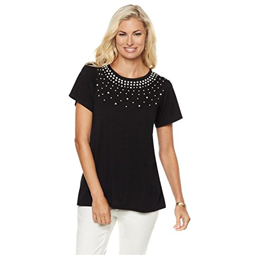 Diane Gilman DG2 Studded Crew Neck Burnout Top Short SLVS Black M New - Crewneck Top Studded