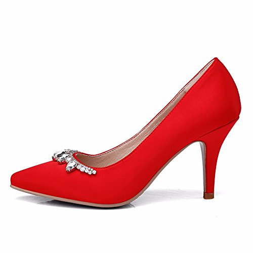 HXVU56546 Frühling Und Herbst Schuhe Der Frauen Crystal Schuhe Wasser Bohren Schuh Seide Mit Großen Code Braut Schuhe gules
