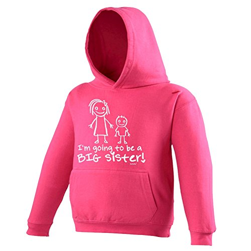 Sister Hoodie Kids (Fonfella Slogans Little Girls' I'M Going To Be A Big Sister - Hoodie Kids Age 3-4 / X Small Hot Pink)