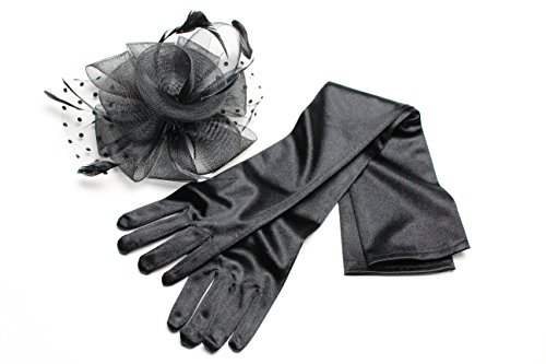Xoxo Women's Fascinator Hat Clip with Feathers and Polka Dot Accent (Black with Opera Gloves) (60s Fashion Accessories)