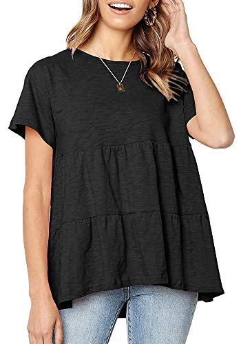 (UPSTONE Peplum Tops for Women Short Sleeve Loose Fit Casual T Shirts Solid Color Black S)