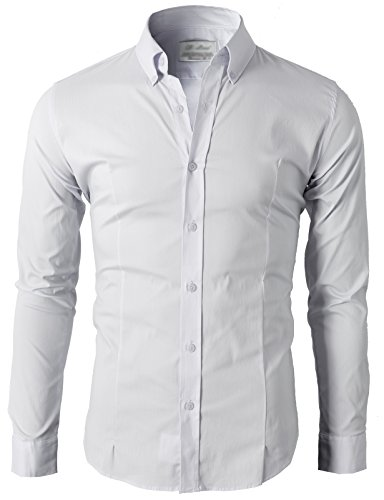 H2H Men's Slim Fit Long Sleeve Dress Shirt of Multiple Colors White US L/Asia 3XL (KMTSTL0489)