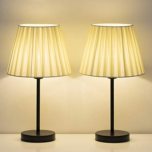 (HAITRAL Bedside Table Lamps - Small Nightstand Lamps Set of 2 with Beige Fabric Shade, Bedside Desk Lamp for Living Room, Office, Dorm, Bedroom, Girls Room - 16.2 Inches (HT-TH70-35X2))