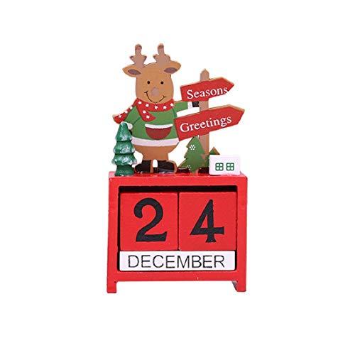 [해외]크리스마스 어드밴트 카운트다운 달력 번호 날짜 나무 블록 테이블 책상 달력 장식 가정용 사무실 장식 (순록) / Christmas Advent Countdown Calendar Number Date Wooden Blocks Tabletop Desk Calendar Decoration for Home Office Decoration (R...