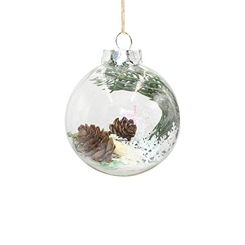 (Christmas Balls Clear Shatterproof Plastic Christmas Bauble with Stuffed Delicate Pine Cone, Snowflake, Xmas Tree Decoration Xmas Tree Hanging Ornament for Christmas Decor (A))
