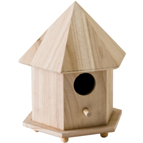 Plaid Wood Surface Crafting Birdhouse, 12740 Gazebo