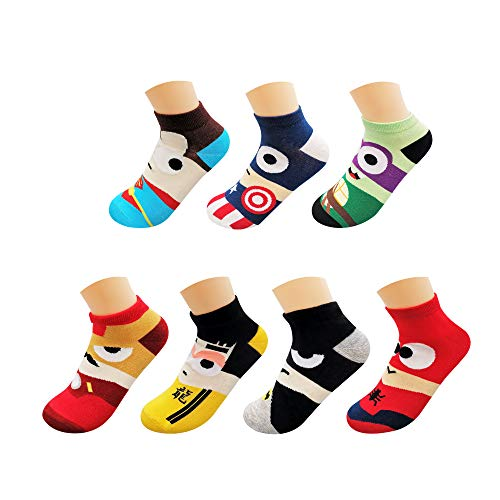 AlterChoice Superhero Socks, Mixed Color Crew Socks, Cute Patterns, Regular Size for Unisex, Marvel-DC and Bruce Lee Characters, Low-cut Style, Pack of 7 Pairs, Durable and Fun Socks