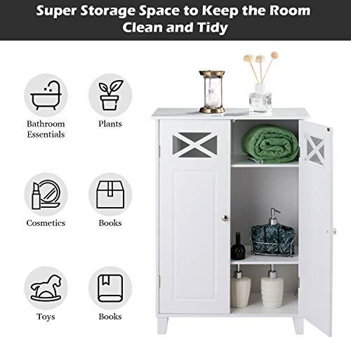 Tangkula Bathroom Floor Cabinet, Double Doors Wooden Free Standing Bathroom Cabinet, Adjustable Shelf Floor Storage Organizer (White) by Tangkula (Image #5)