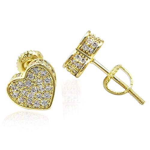 18k Gold Plated Heart Stud Earring For Women Girls Hypoallergenic Earring Screw Back Iced Out Cubic Zirconia Micropave Fashion Jewelry SENTERIA