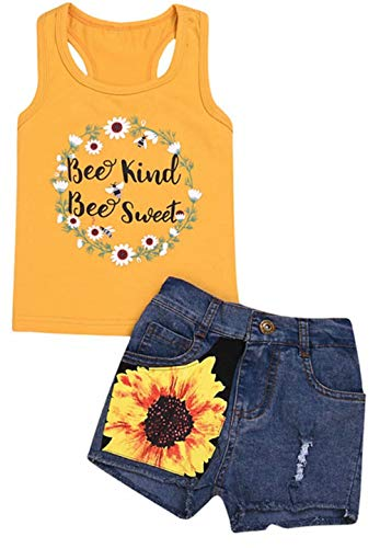 EGELEXY Toddler Baby Girls Bee Kind Bee Sweet Letter Print Sleeveless Tank Tops+Denim Floral Shorts Outfits Size 18-24 Months/Tag100 -