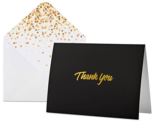"100 Thank you cards with Envelopes - Black with Gold Foil Embossed Lettering, Designer Envelopes, perfect for Weddings, Birthdays, Bar Mitzvahs, Bridal Showers,Baby Showers ,Business, 5.75"" X (Gold Embossed Envelope)"