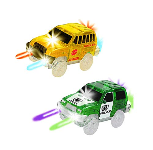 THREE BEARS Track Cars(2-Pack),5 LED Lights Yellow School Bus and Blue Police Car,Compatible with Most Tracks,Boys & Girls (Blue+Green)