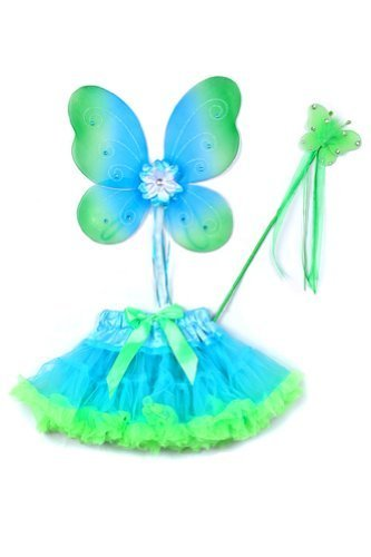 Two Toned Tutu (Aqua & Lime Green Butterfly Wings Tutu Toddler Girl Costume Dress Up 2T-5T by Cinderella Couture)
