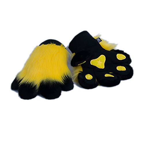 (Pawstar Paw Mitts Furry Animal Hand Paws Costume Gloves Adults - Yellow)