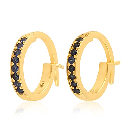 Micropave-Set Blue Sapphire Huggie Hoop Earrings in 18K Yellow Gold