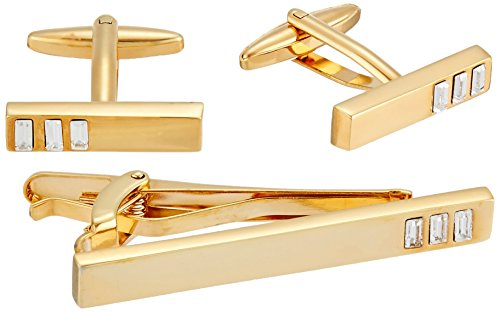 Stacy Adams Men's Square with Jet Acrylic Inlay Open End Cuff Links, Gold/black, One Size