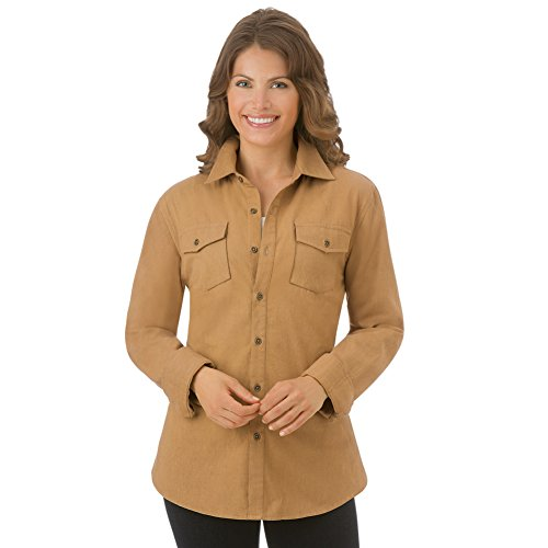 Women's Twill Buttoned Down Collared Shirt Jacket, Khaki, Xx-Large by Collections