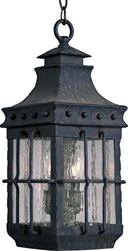 Maxim 30088CDCF Nantucket 3-Light Outdoor Hanging Lantern, Country Forge Finish, Seedy Glass, CA Incandescent Incandescent Bulb , 40W Max., Dry Safety Rating, Standard Dimmable, Fabric Shade Material, Rated Lumens